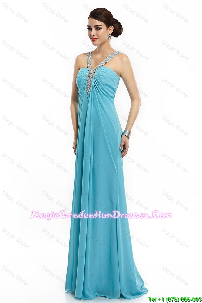 2016 Classical Brush Train Straps Beaded 8th Grade Graduation Dresses in Aqua Blue