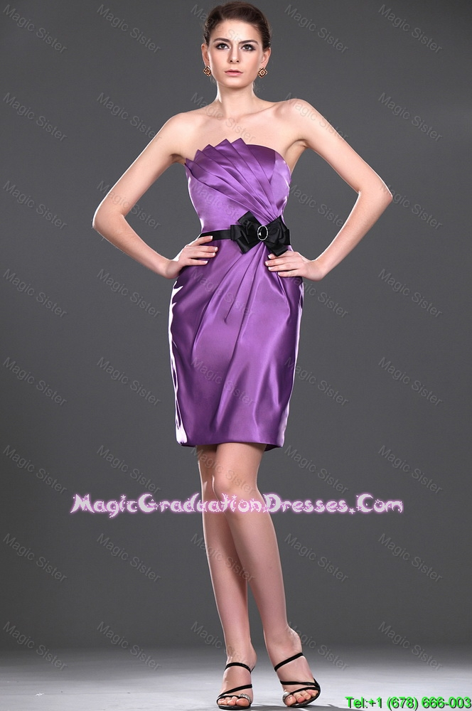 Delicate Eggplant Purple Short Party Dress with Belt and Bowknot