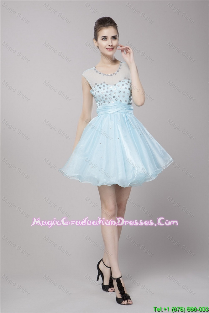 Fashionable Scoop Light Blue Graduation Dresses with Beading