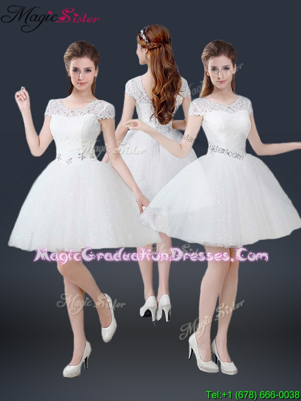 2016 Spring Luxurious Mini Length Short Sleeves Beading Graduation Dresses
