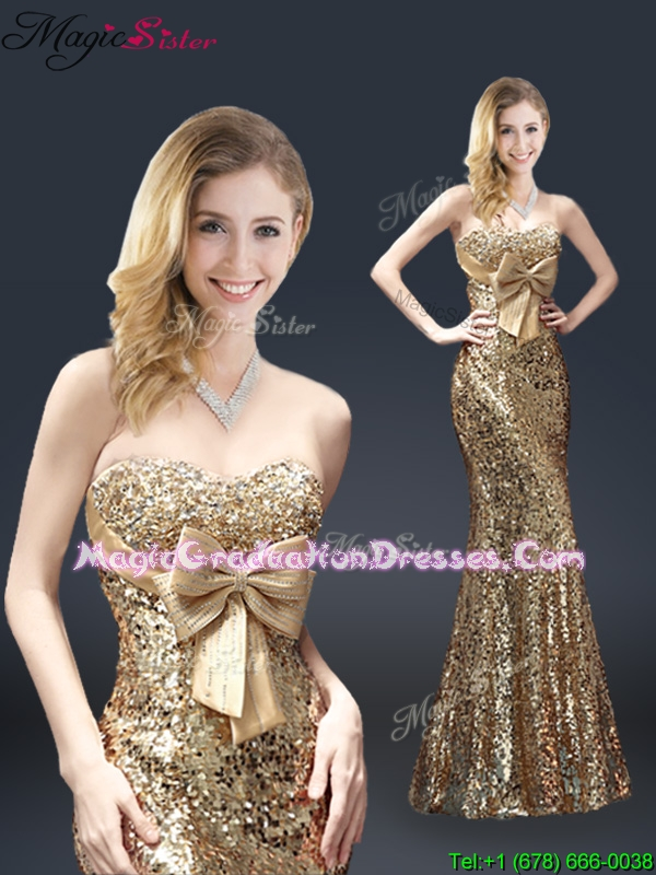Fall Column Sequins Graduation Dresses with Bowknot in Gold