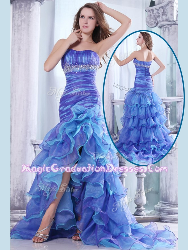 Hot Sale Column Sweetheart High Low Beading and Ruffled Layers Graduation Dresses