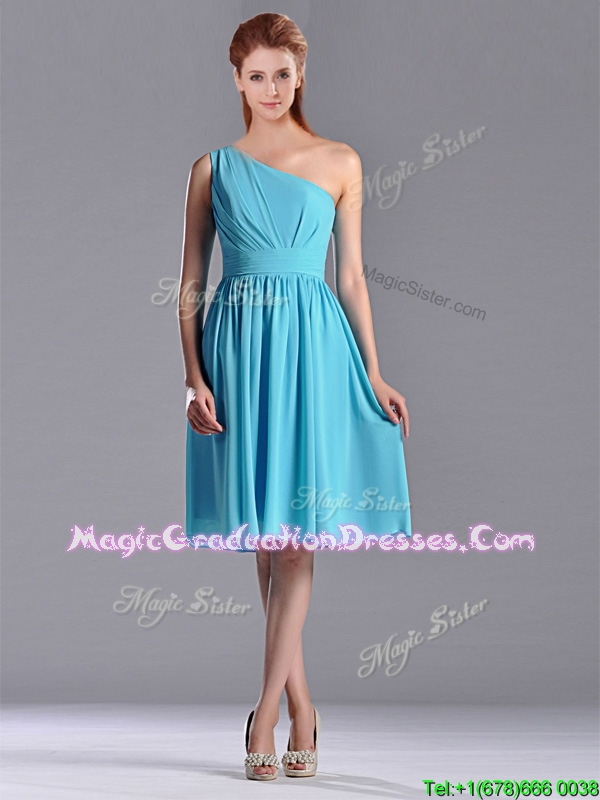 Discount Chiffon Baby Blue Knee Length Graduation Dress with One Shoulder