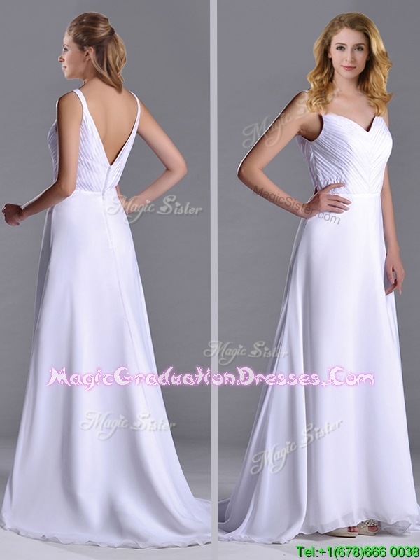 Popular Straps White Chiffon School Party Dress with Brush Train