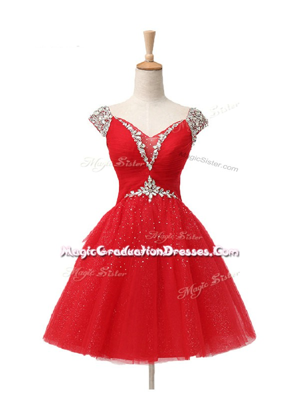 On Sale Mini Length Red Graduation Dresses V-neck Cap Sleeves Lace Up