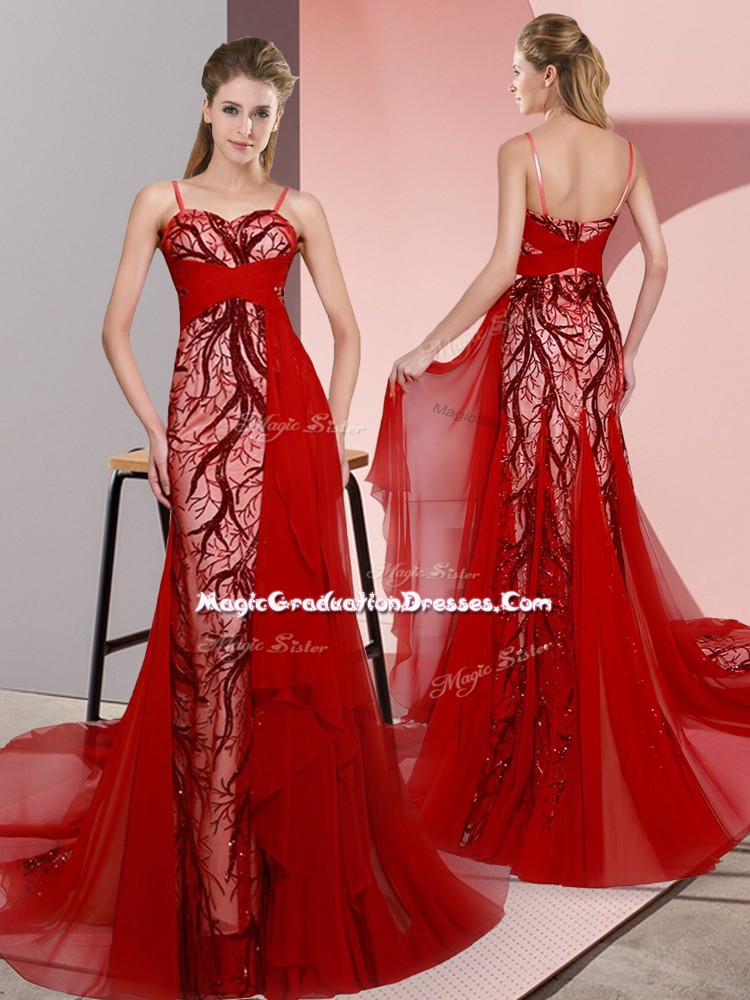 Gorgeous Red Empire Satin Spaghetti Straps Sleeveless Beading and Lace Lace Up Graduation Dresses Sweep Train