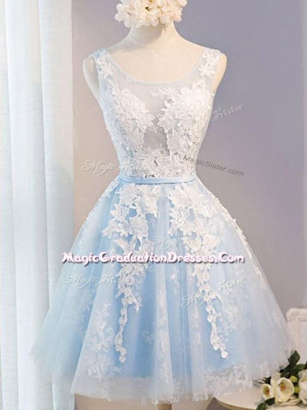 Beauteous Tulle Scoop Sleeveless Lace Up Appliques and Belt