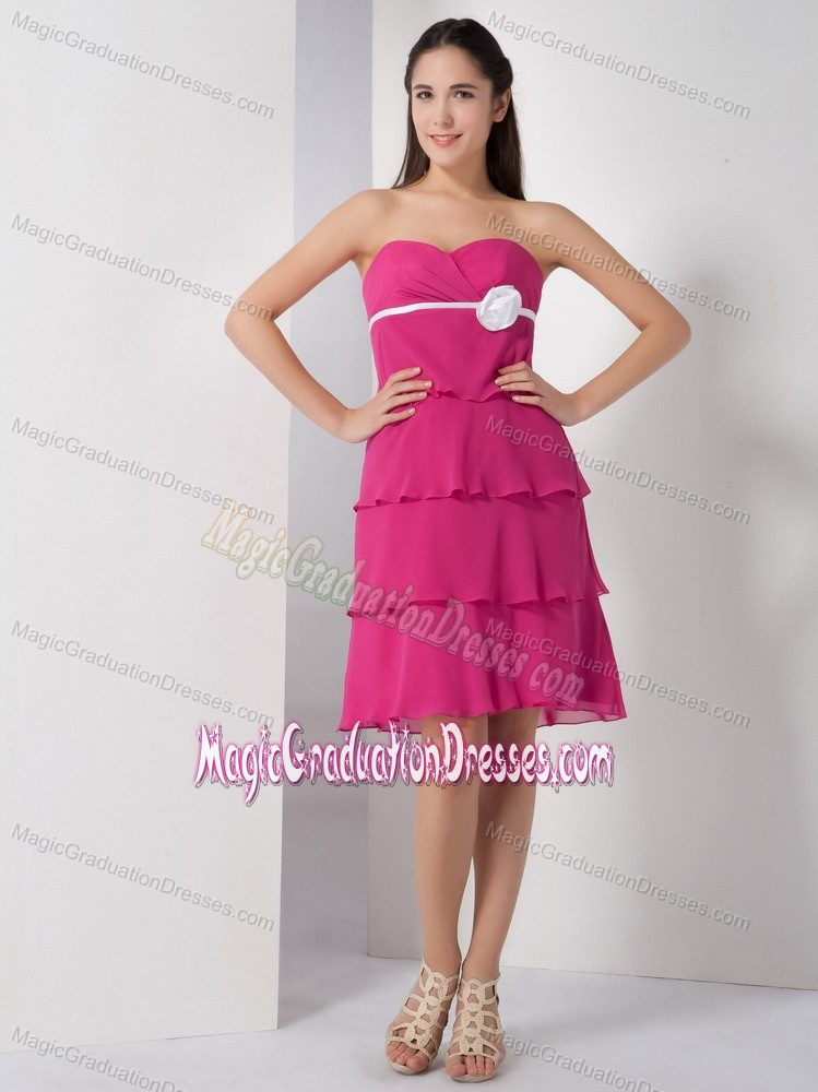Fuchsia Sweetheart Knee-Length Layered Graduation Dress with White Belt and Flower