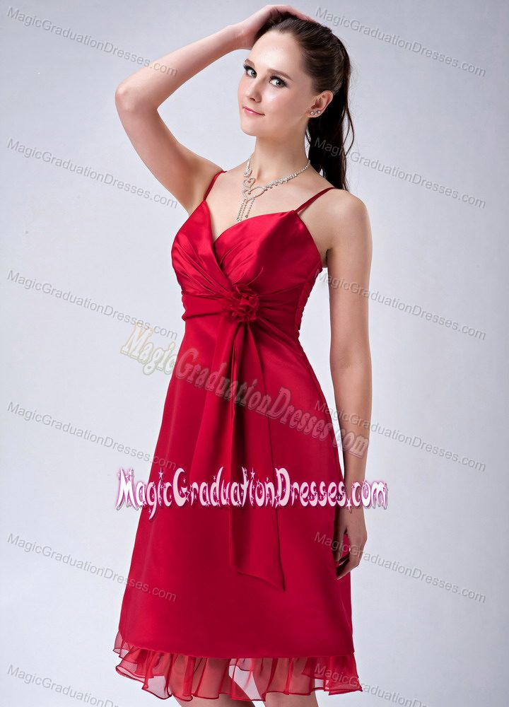Red Spaghetti Straps Ruched 8th Grade Graduation Dress with Hand-Made Flower