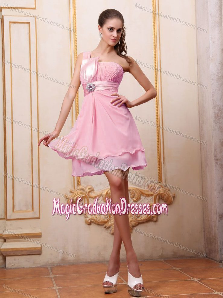 Pink One-Shoulder Mini-Length Graduation Dress with Ruching and Appliques