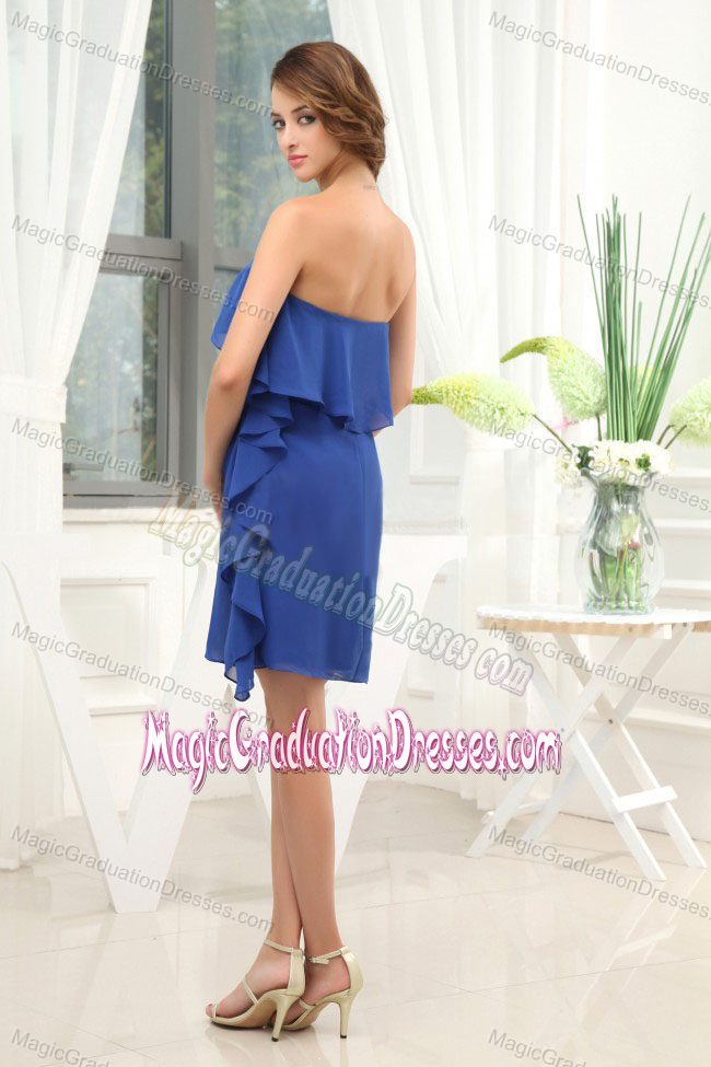 Chiffon Knee-length Simple Blue Ruching School Anniversary Party Dress from Oklahoma