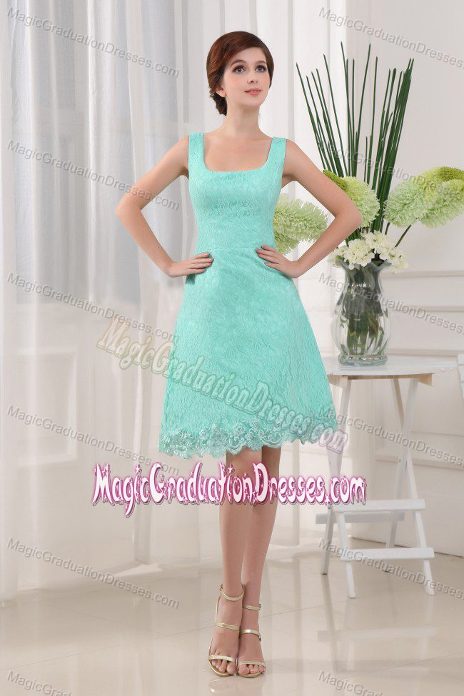 Square A-Line Apple Green Mini-length Lace School Anniversary Party Dress from Utah