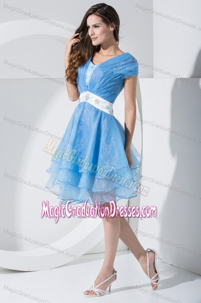 Beaded Blue Junior Graduation Dresses with Sash and Short Sleeves in Rome