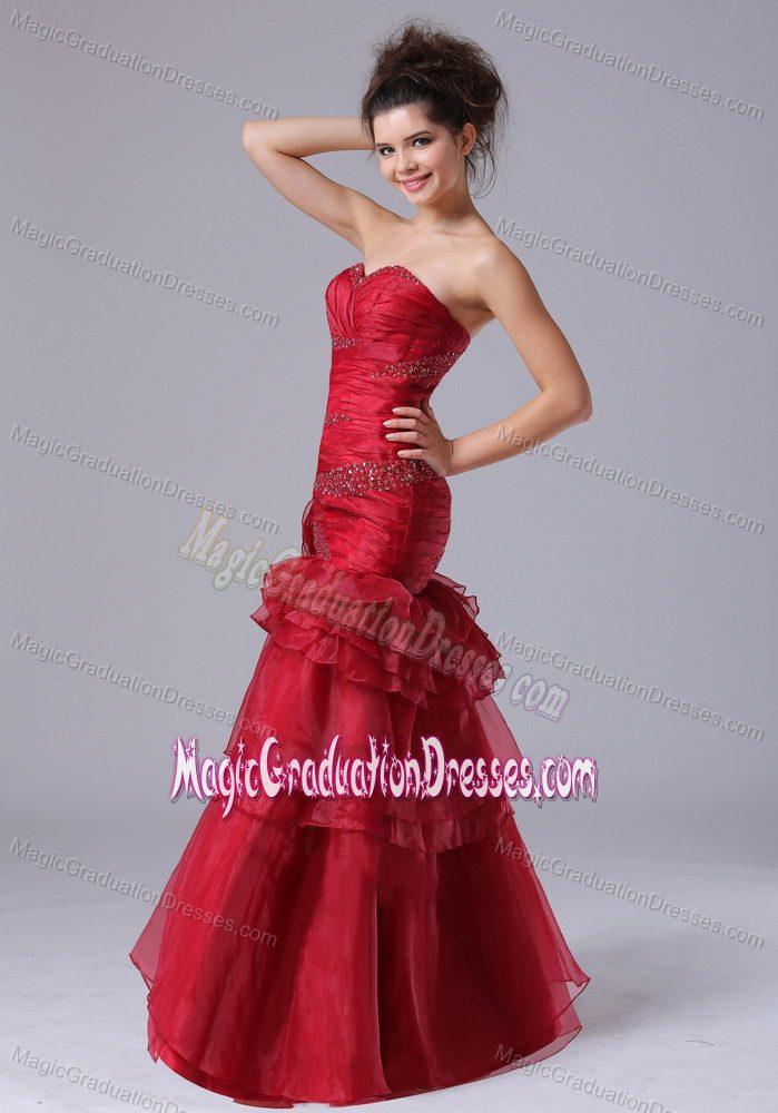 Ruffled Mermaid Red Evening Dress For Graduation with Beading in Vienna