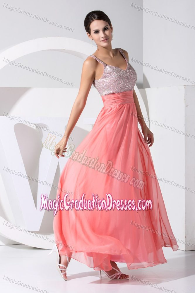 A-line Strap Style Junior Graduation Dresses in Leven with Sequins and Chiffon