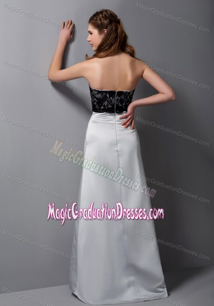 Gray A-line Strapless Floor-length Middle School Graduation Dresses with Lace