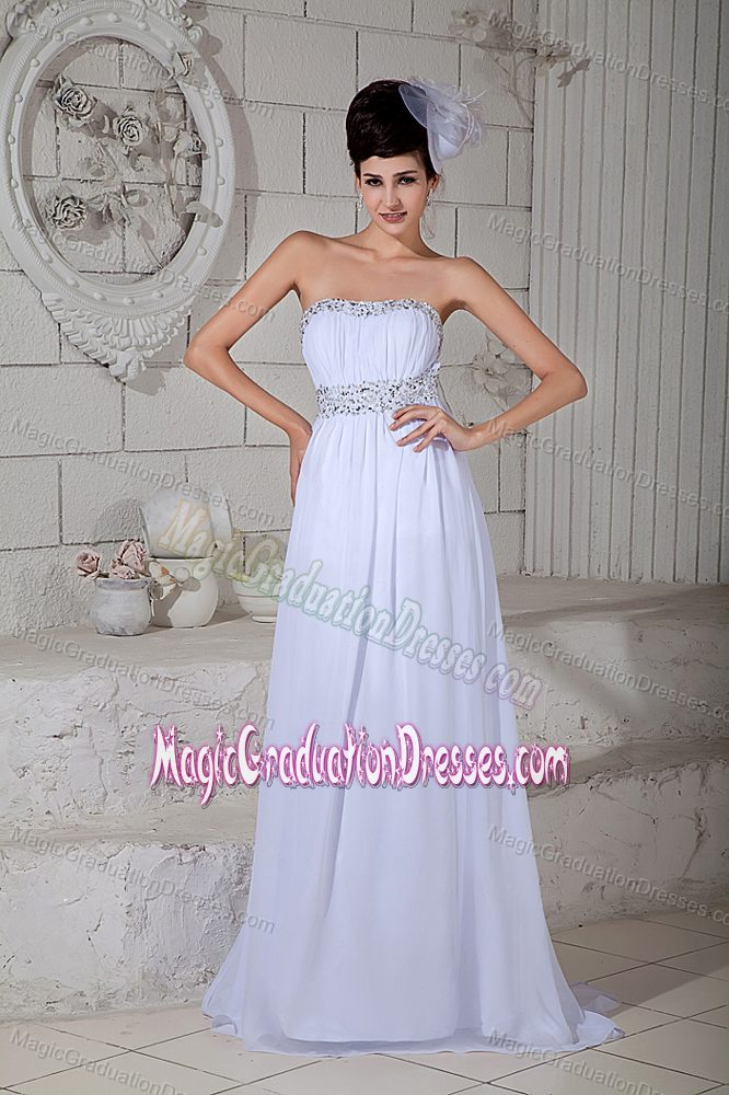 Strapless Floor-Length White Graduation Dress with Beading and Back Out