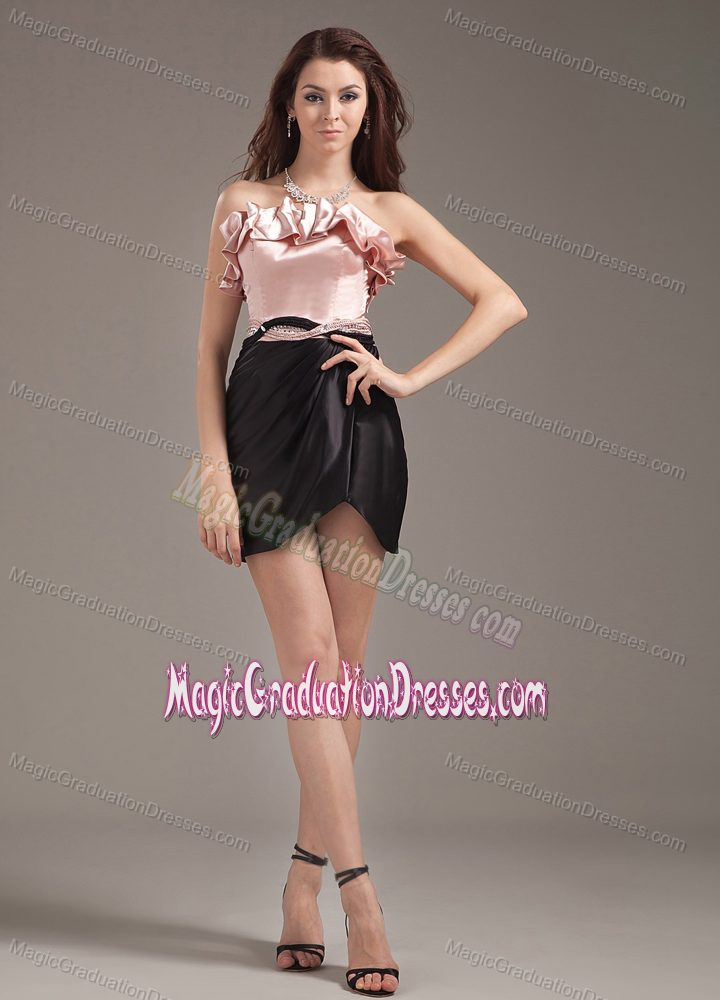 4f46fd69ef Pink and Black Ruffled Strapless Short Graduation Dresses for High School