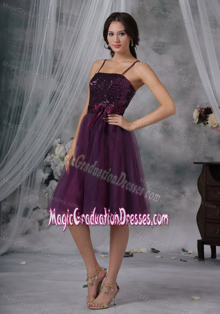 Spaghetti Straps Knee-length Graduation Dress for 8th Grade with Beading in Hines