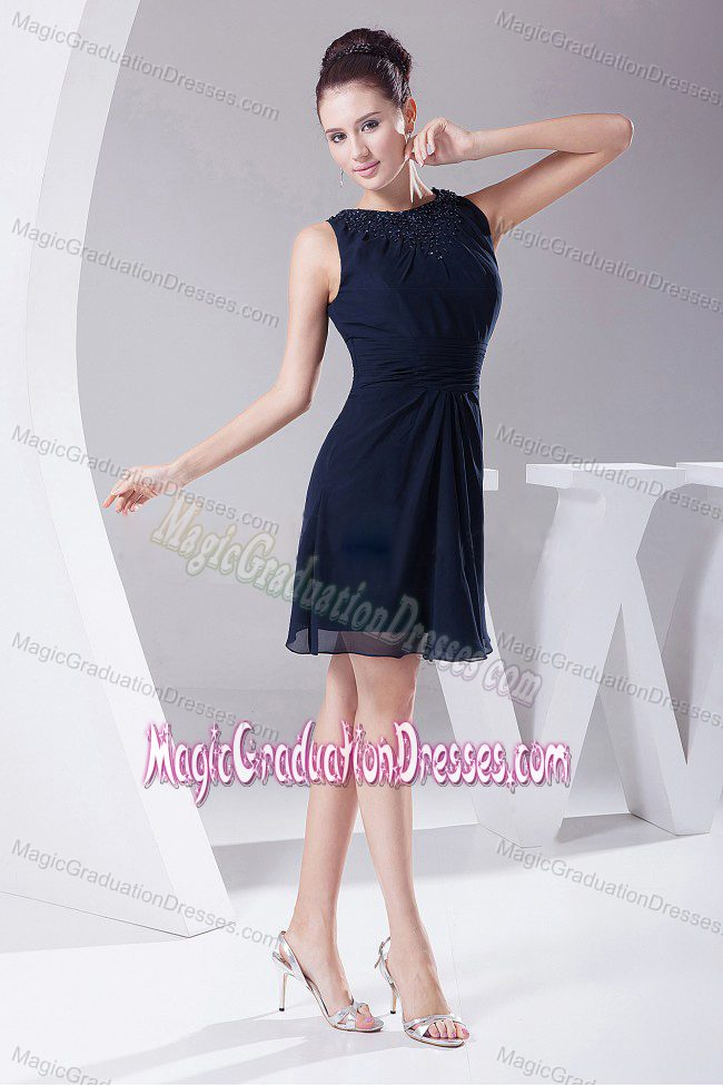 ... Navy Blue Scoop Knee-length Middle School Graduation Dresses in Filer