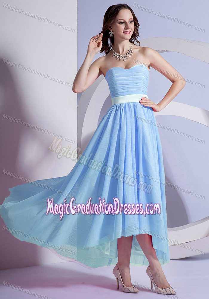 Low Sweetheart Light Blue Graduation Dresses For Middle School In Easton