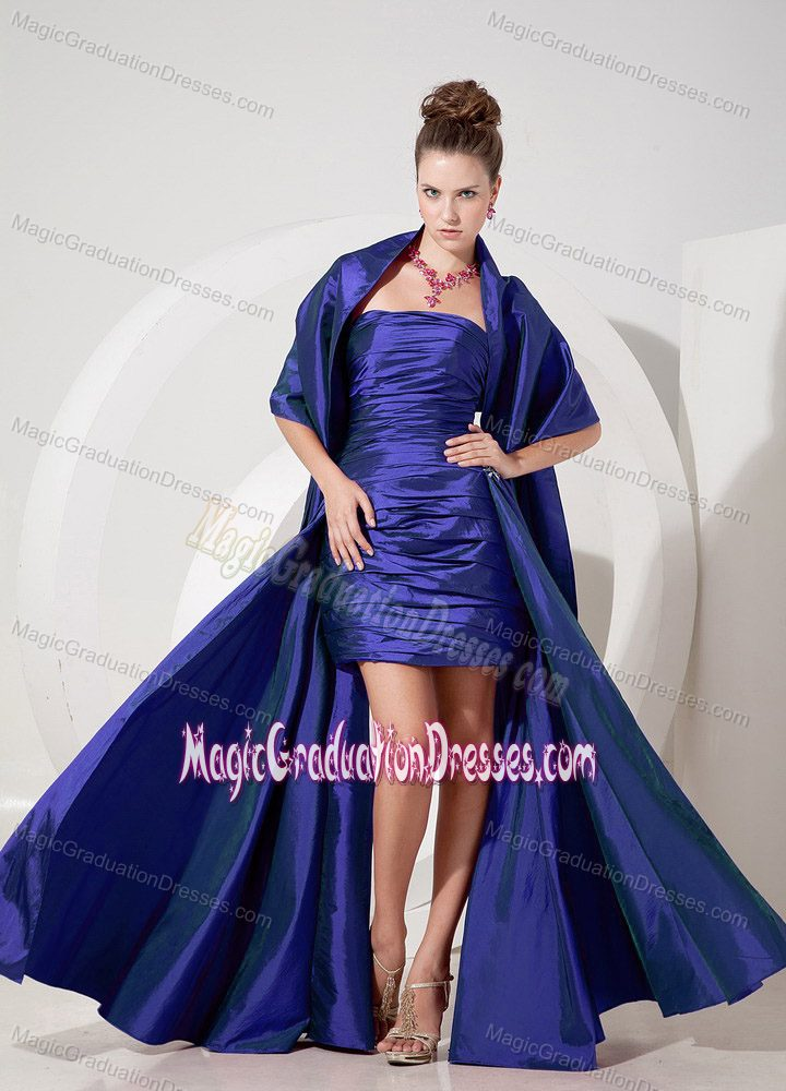 Wonderful Ruched Blue Strapless Graduation Dress for High School in Oakland