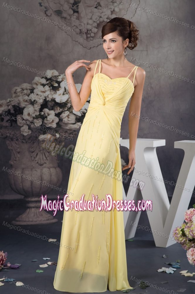 spaghetti straps light yellow graduation dresses for 8th