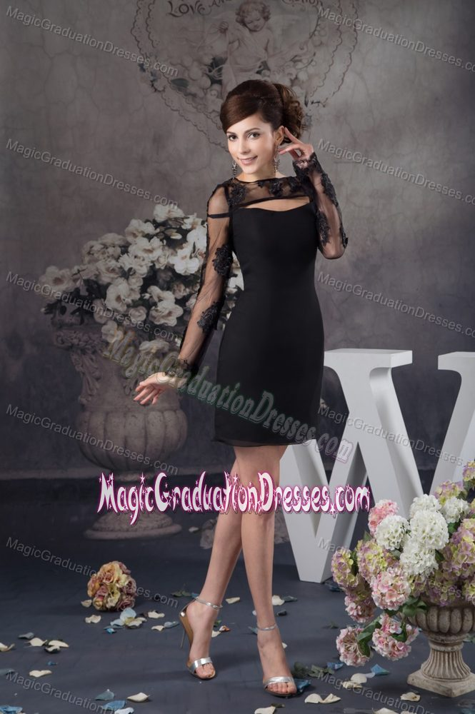 Mini-Length Black Graduation Dress with Sheer Neckline and Long Sleeves