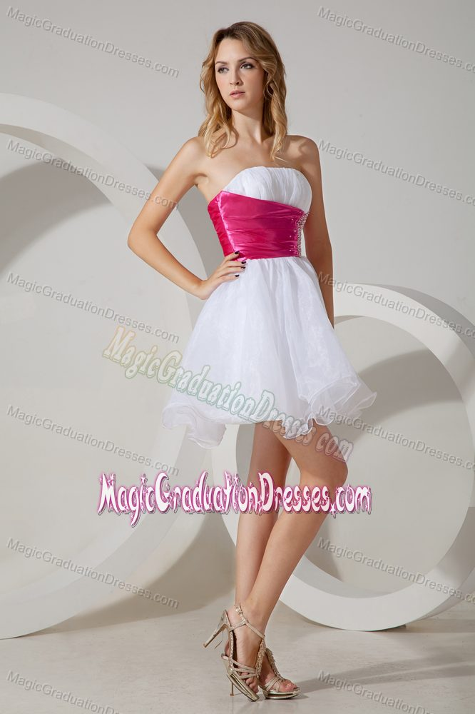 Beading Organza White Garland Graduation Dress with Hot Pink Belt
