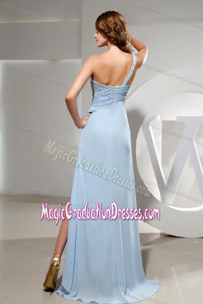 Beaded Light Blue One Shoulder High Slit Graduation Dress for Girls in Camden