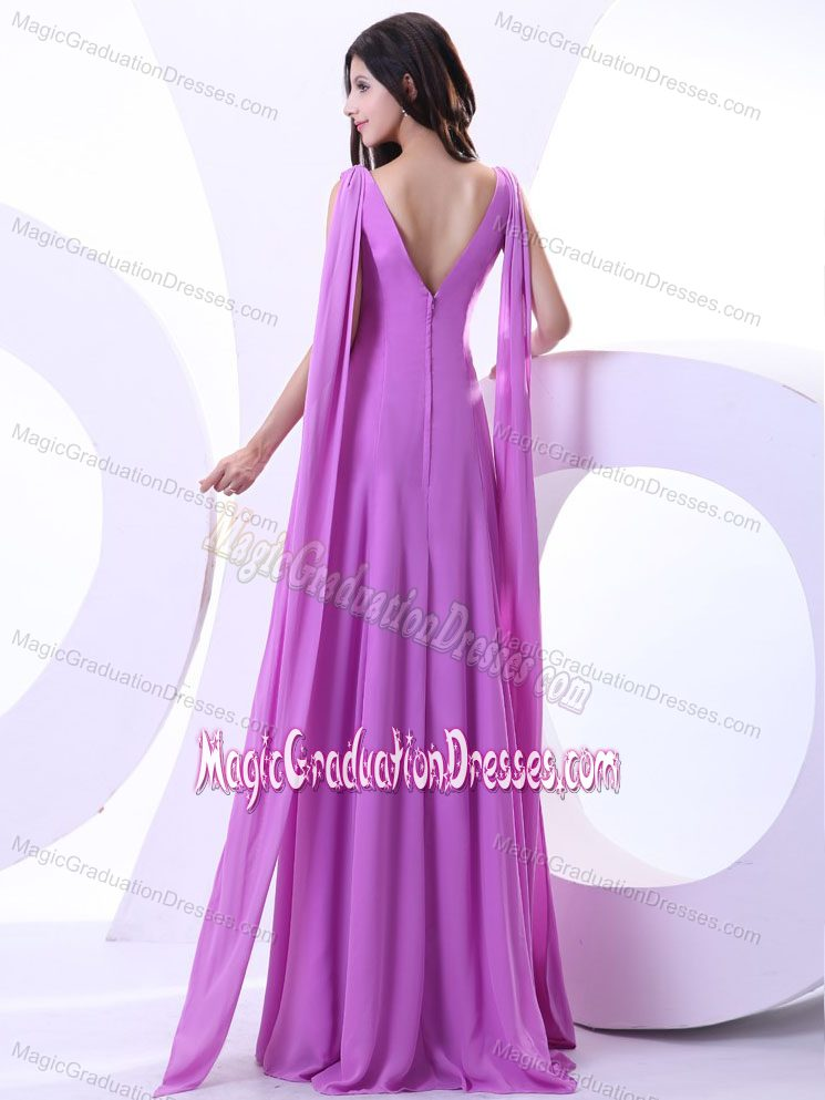 Elegant Lavender Middle School Graduation Dress with Watteau Train in ...