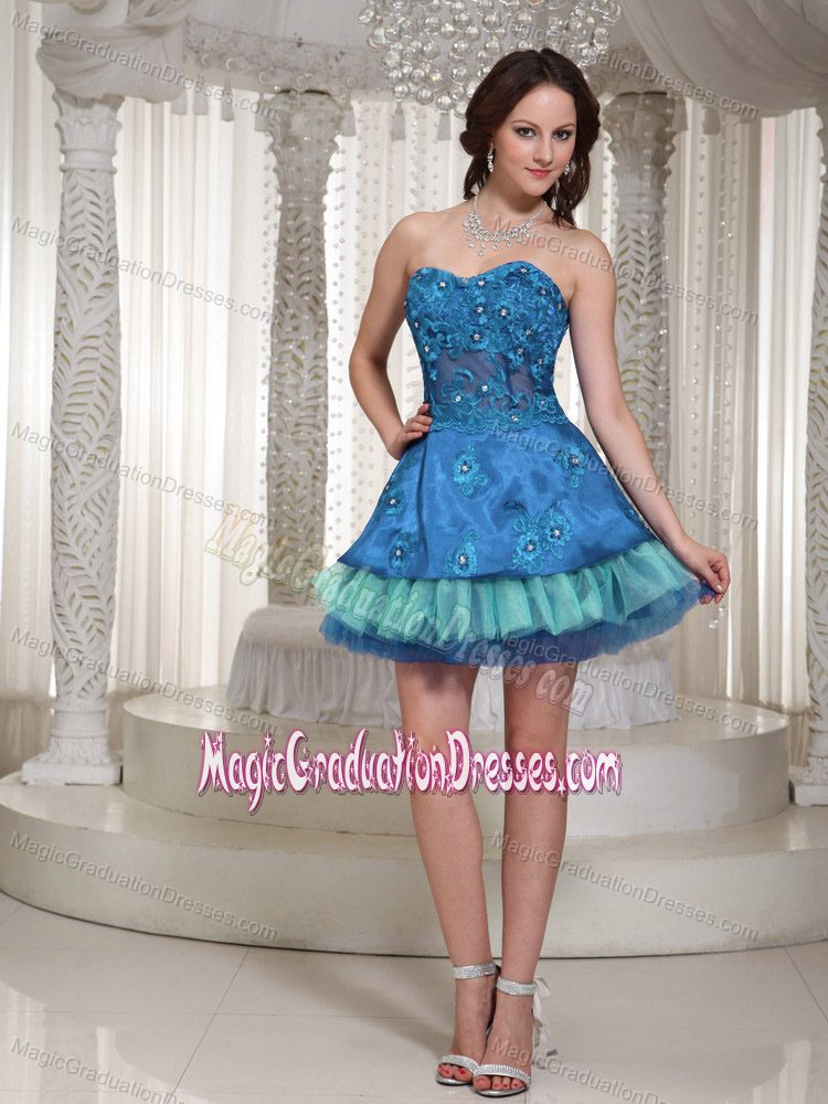 Sweetheart Mini-length 5th Grade Graduation Dresses in Blue and Teal