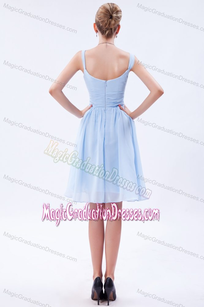 Straps Knee-length Ruche Baby Blue Graduation Dresses for 8th Grade