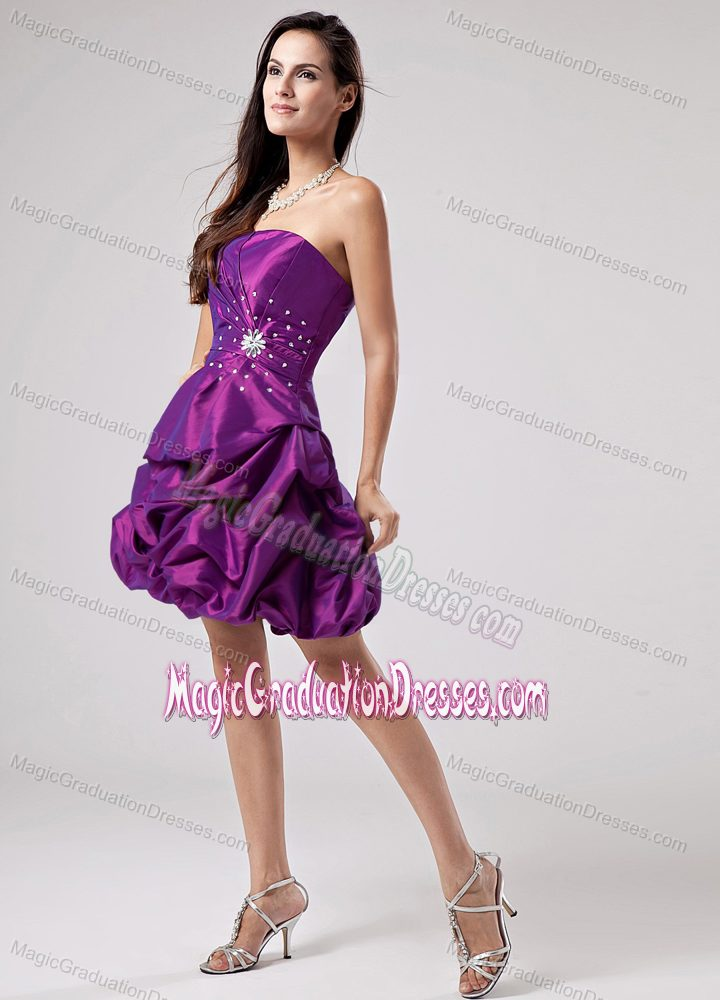 Purple 2013 Beaded Ruched Graduation Dresses for Grade 8