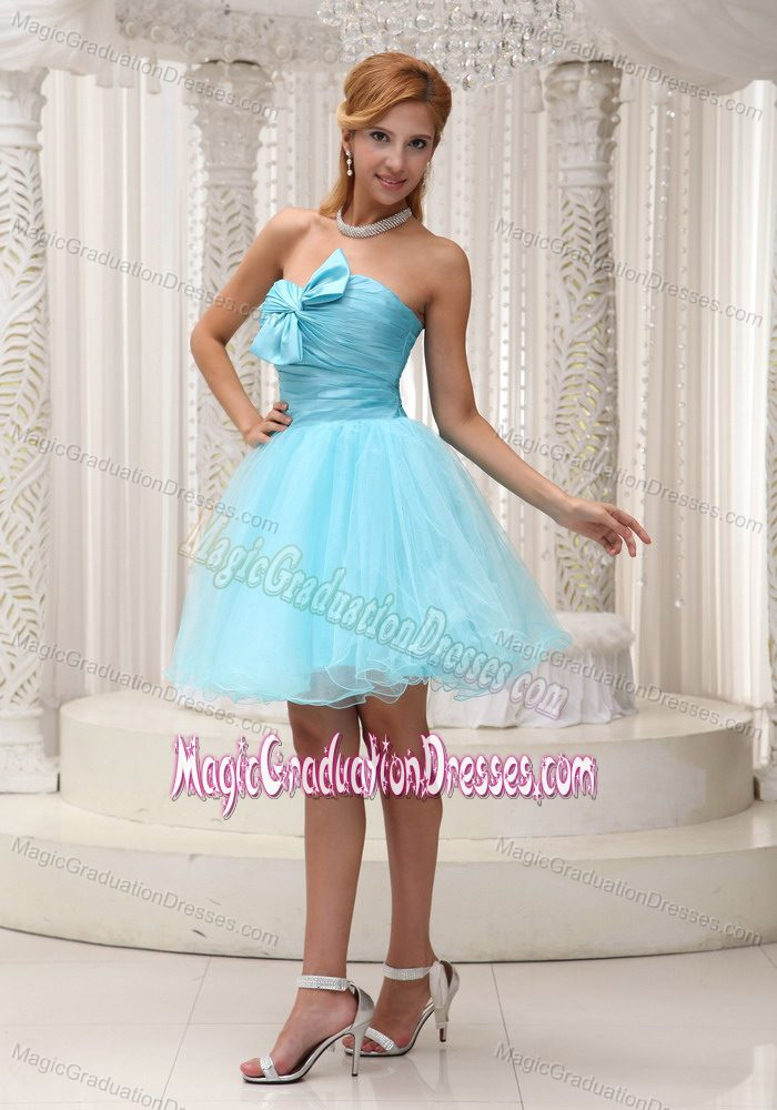 Aqua Blue A-line Ruched Mini-length 5th Grade Graduation Dress in Harvest