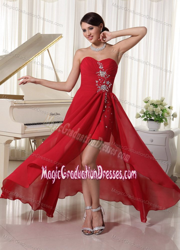 New Hampshise High-low Beaded and Ruching Graduation Dress in Red