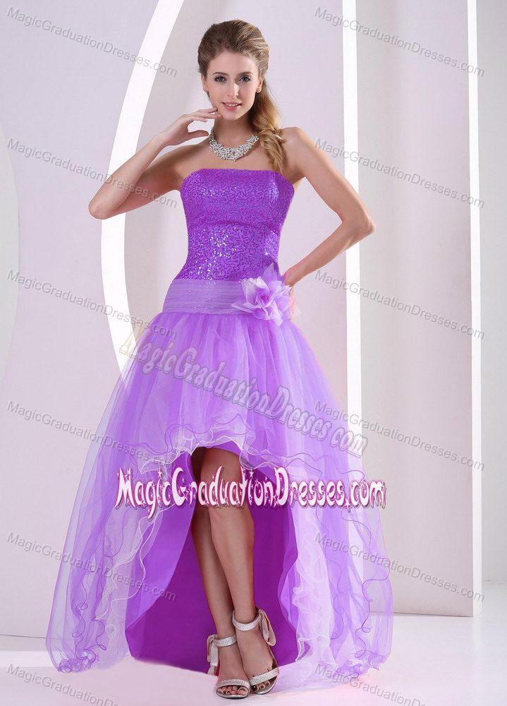 High-low Lavender Sequins and Flower Dress for Grade 8 in Oklahoma
