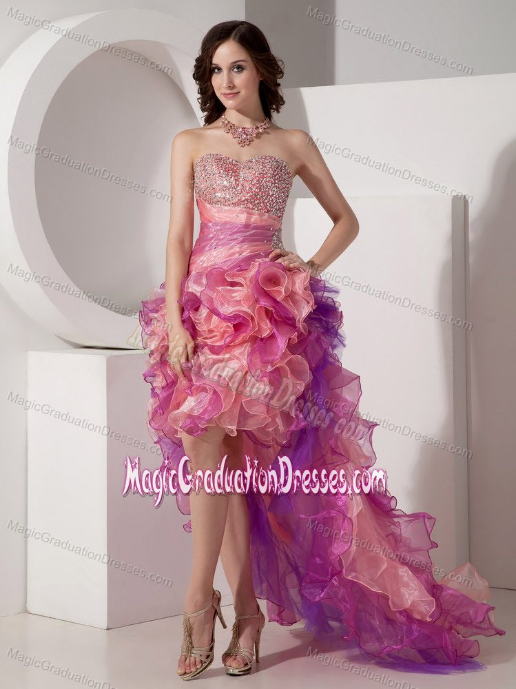 Colorful Beading Column Graduation Dresses with High-low and Ruffles