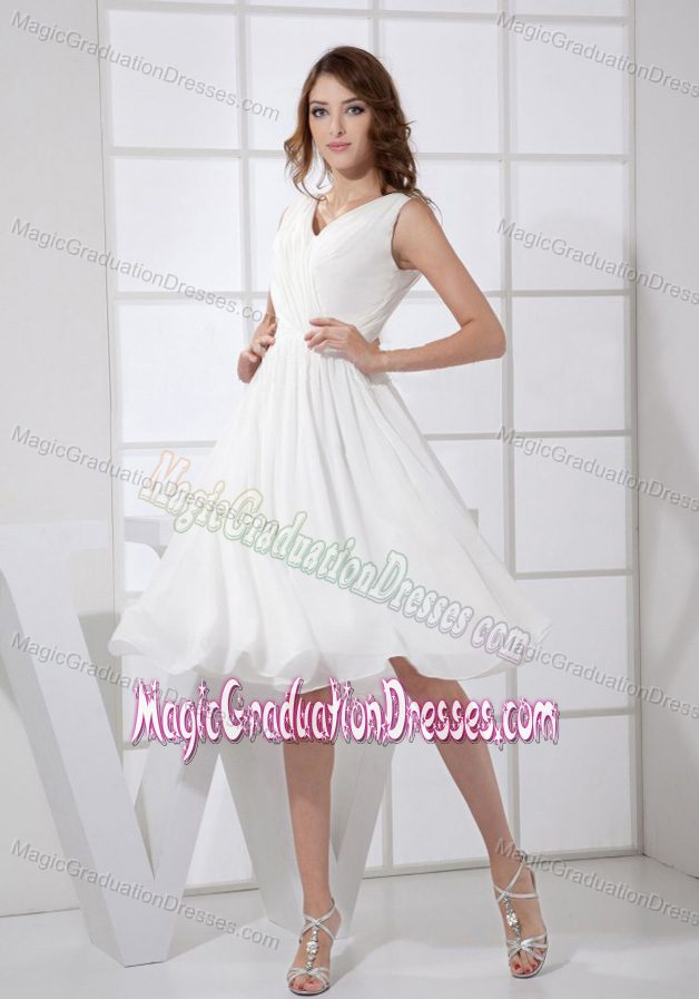 V-neck White Chiffon Ruched Graduation Dresses in Beverly Hills