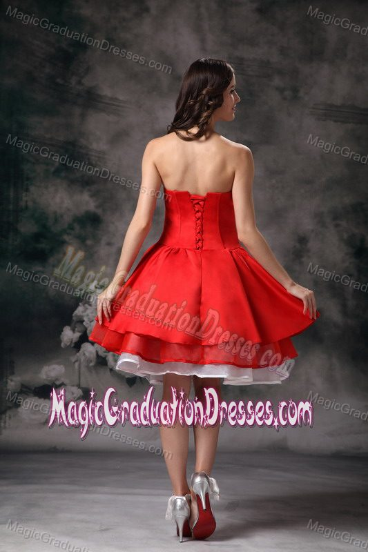 2014 Layers Strapless Knee-length Red Graduation Dresses for Juniors