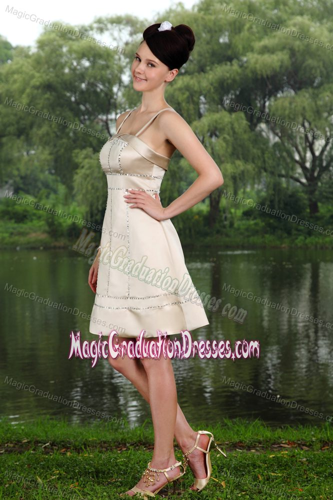 Kingston Ontario Straps Beading Taffeta Champagne Graduation Dress