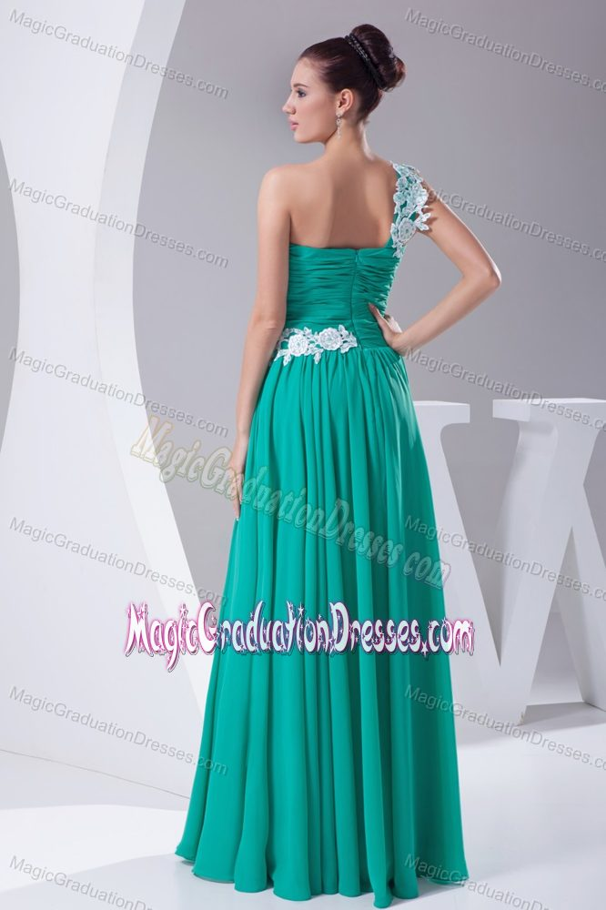 One Shoulder Turquoise Graduation Dresses for High School