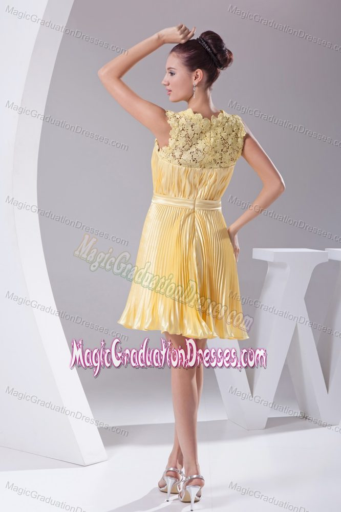 Lace Scoop Neck Pleated Sash Yellow Eighth Grade