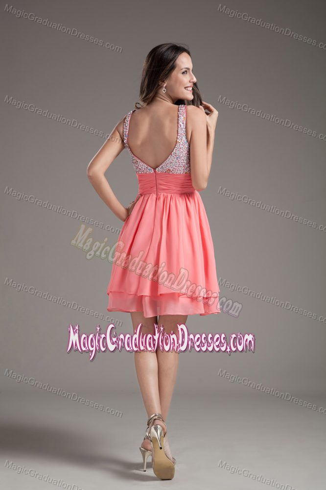 Short Straps Beading Layers Watermelon Prom Dresses for Graduation