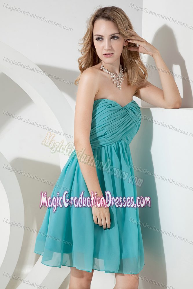 Cute Turquoise Sweetheart Short Middle School Grad Dresses with Ruche