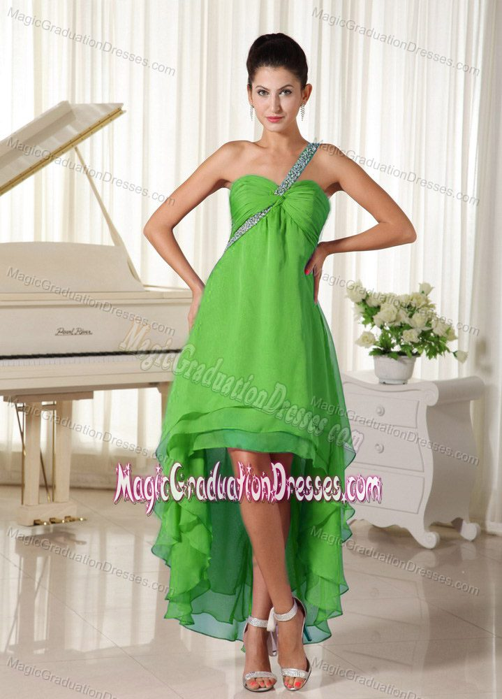 Beaded High-low Lime Green College Graduation Dresses in ...