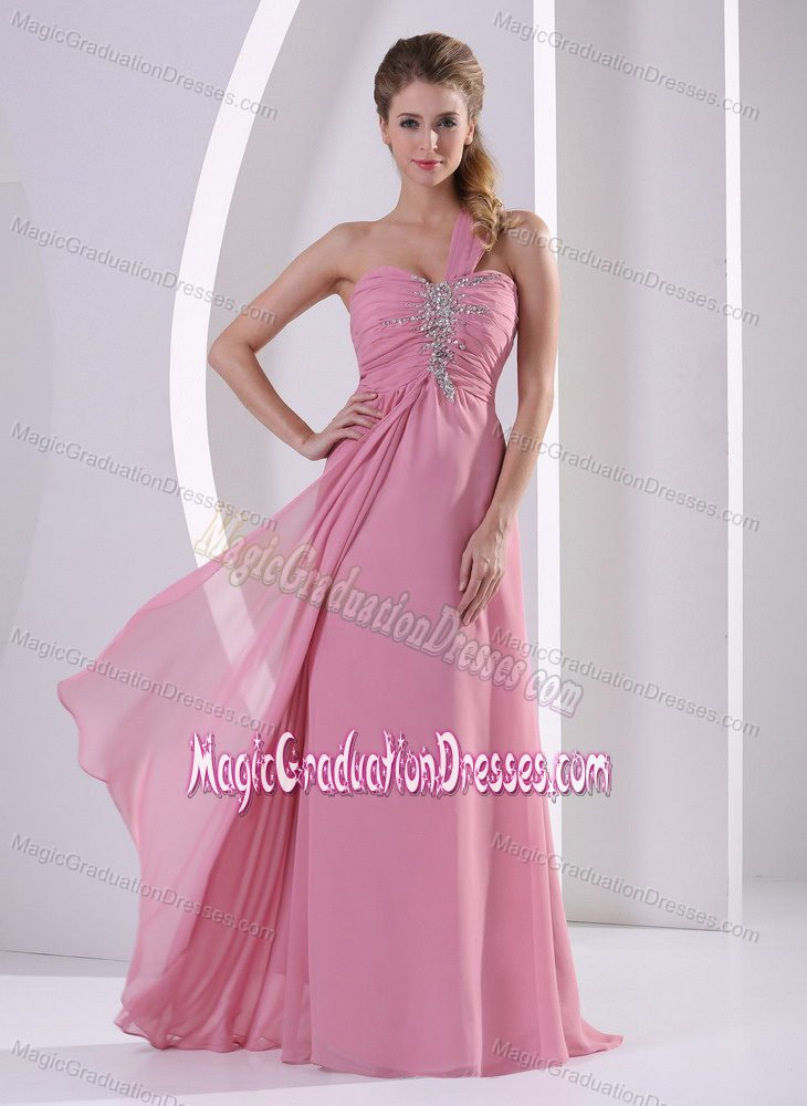 Shoulder Rose Pink Long Graduation Dress For High School With Beads