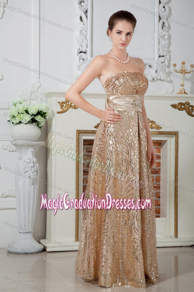 Sequin Gold Long Graduation Dress For High School With Bow