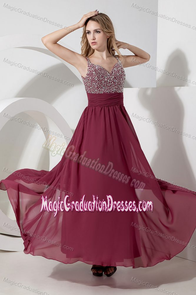 Beaded Burgundy Long Grad Dress for 8th Grade with Side Zipper