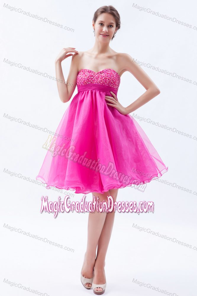 Hot Pink Short Graduation Dresses for Juniors in Organza with Beads